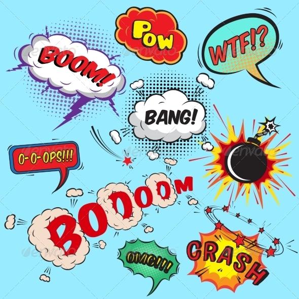 Comic Speech Bubbles Design Elements Collection - Decorative Symbols Decorative