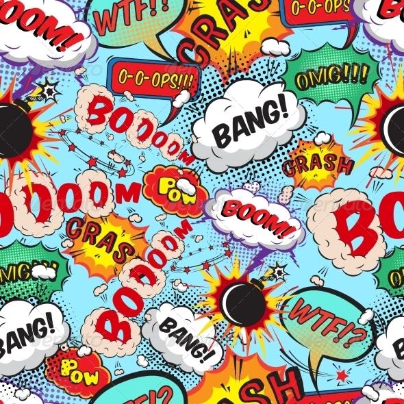 Seamless Pattern Comic Speech Bubbles - Backgrounds Decorative