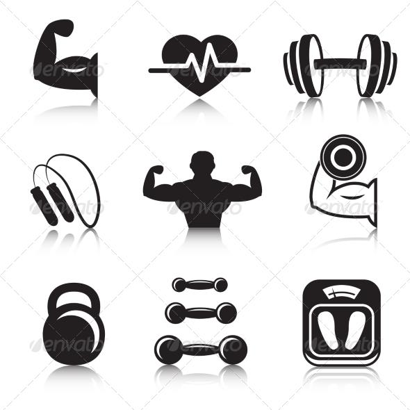 Fitness Bodybuilding Sport Icons Set - Web Technology