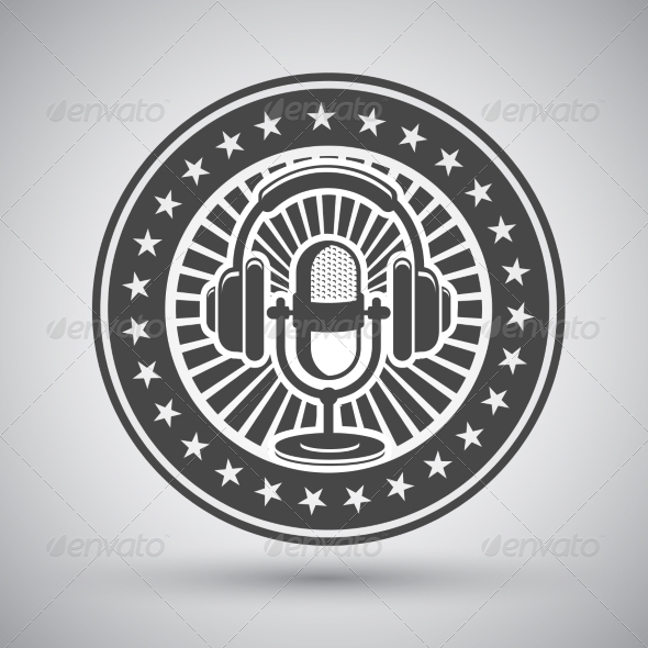 Retro Microphone and Headphones Emblem - Decorative Symbols Decorative