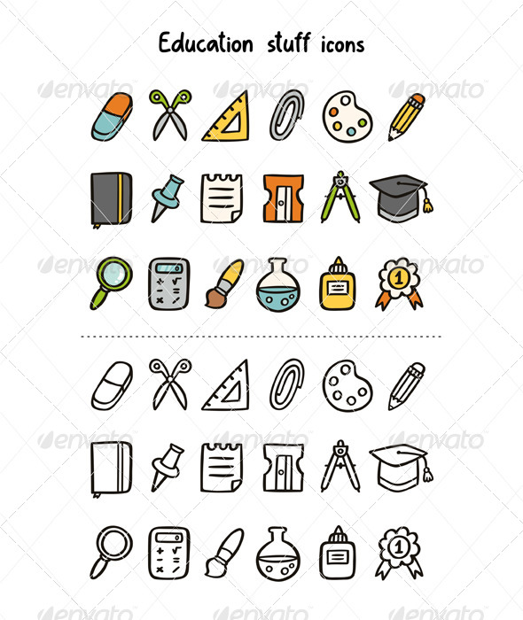 Education Stuff Icons - Objects Icons