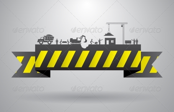 Yellow Construction Banner for Infographics Title - Borders Decorative