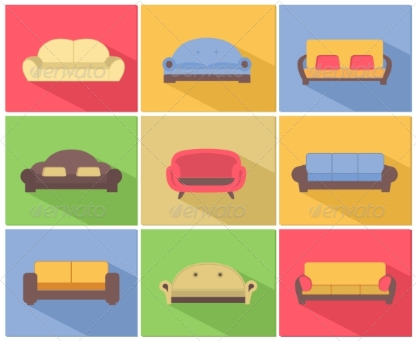 Sofas and Couches Icons Set - Web Elements Vectors