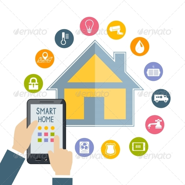 Hand Holding Mobile Phone Controls Smart Home - Concepts Business