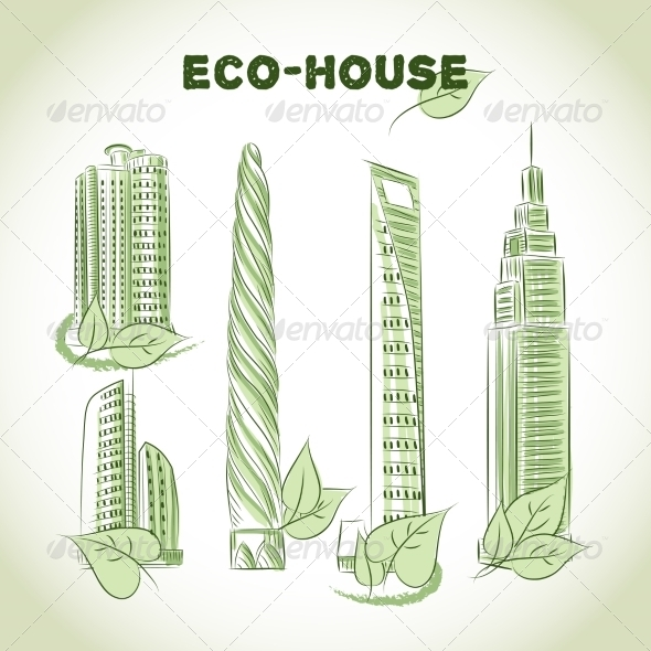 Eco Green Buildings Icons - Buildings Objects