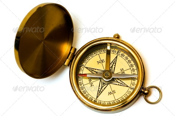 Old style brass compass - Stock Photo - Images