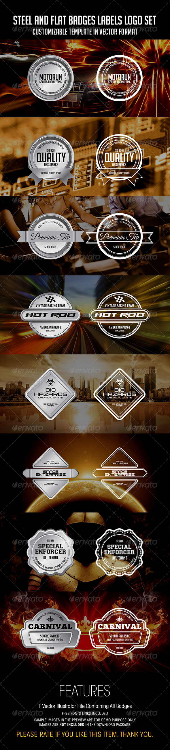 Steel And Flat Badges Labels Logo Set - Badges & Stickers Web Elements