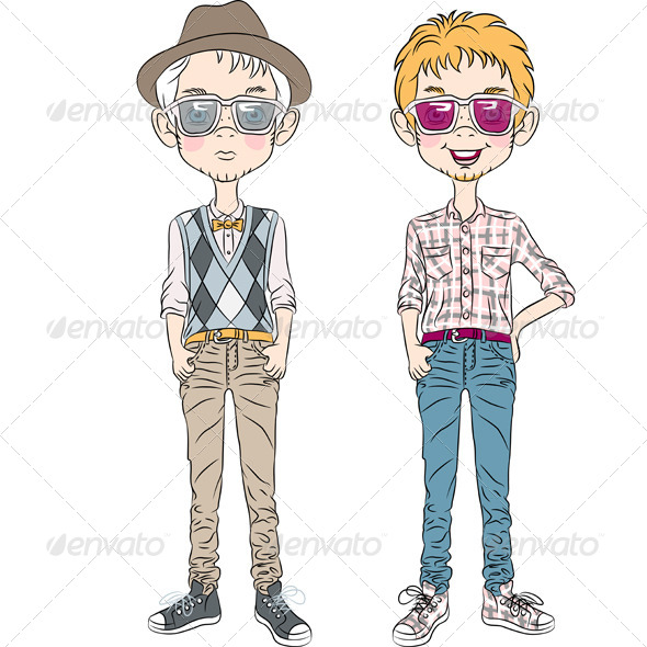 Hipster Cartoon Boys - People Characters