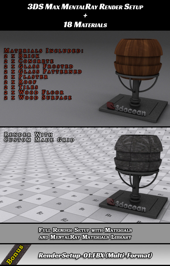 Render Setup for 3DS Max + 18 Materials - 3DOcean Item for Sale