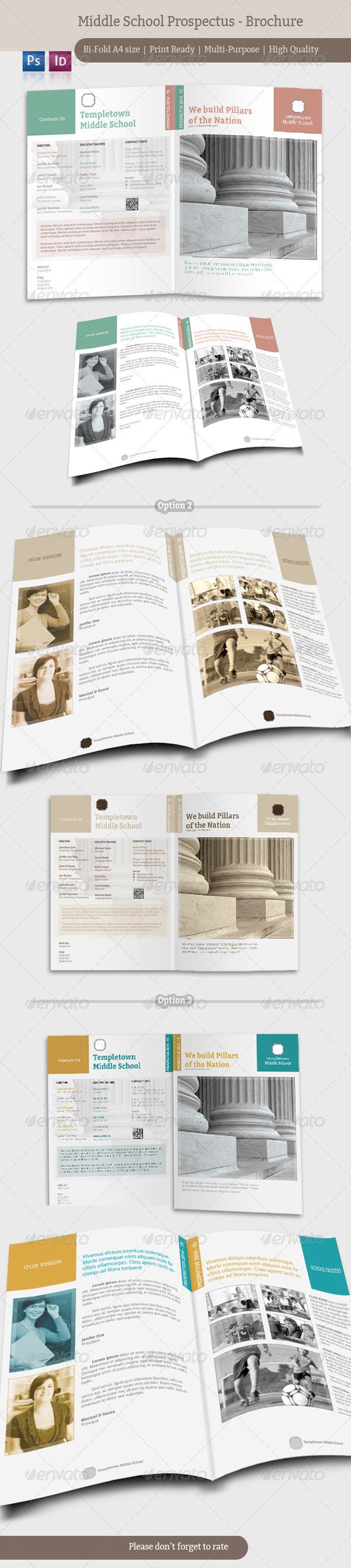 Middle School Prospectus - Brochure  - Brochures Print Templates
