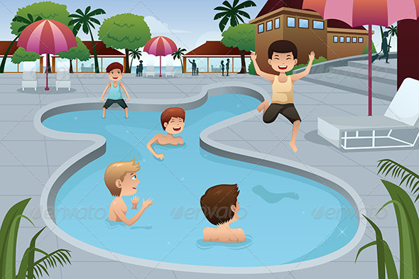 Kids Playing in an Outdoor Swimming Pool - Sports/Activity Conceptual