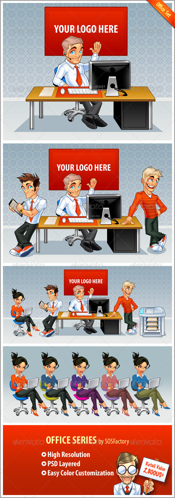 Office Set - Characters Illustrations