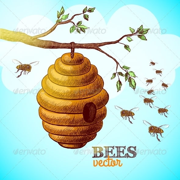 Hive on Tree Branch - Backgrounds Decorative