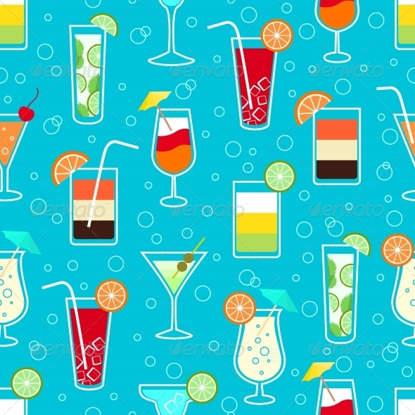 Seamless Drinks Pattern - Backgrounds Decorative