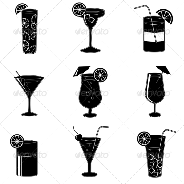 Pictograms of Party Cocktails with Alcohol - Web Elements Vectors