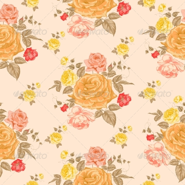 Seamless Roses Pattern - Flowers & Plants Nature