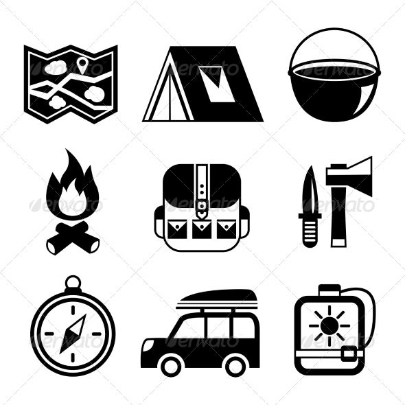 Outdoors Tourism Camping Flat Pictograms Set - Travel Conceptual