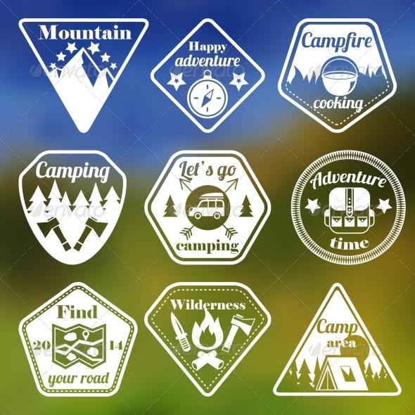 Outdoors Tourism Camping Flat Emblems Set - Web Elements Vectors