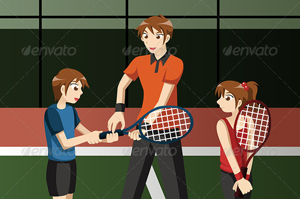 Kids in a Tennis Club with the Instructor - Sports/Activity Conceptual