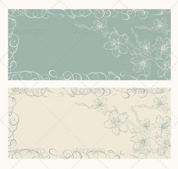 Decorative Card with Sakura - Flowers & Plants Nature