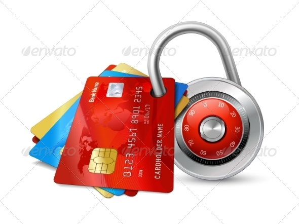 Set of Secure Credit Cards with Lock - Concepts Business