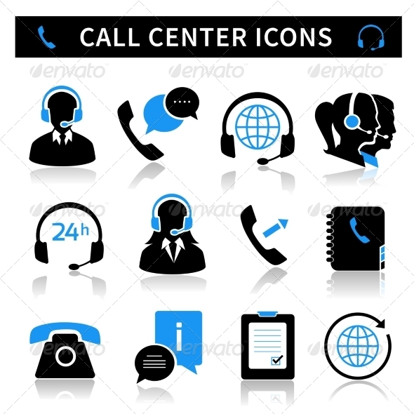 Call Center Service Icons Set - Technology Icons