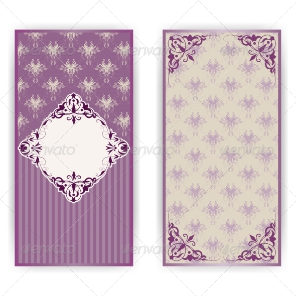 Vintage Damask Invitation Card - Backgrounds Decorative