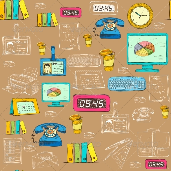 Seamless Business Office Supplies Pattern - Backgrounds Business