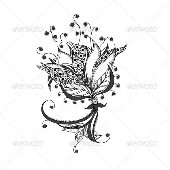 Fantasy Flower Black and White Tattoo Pattern - Patterns Decorative