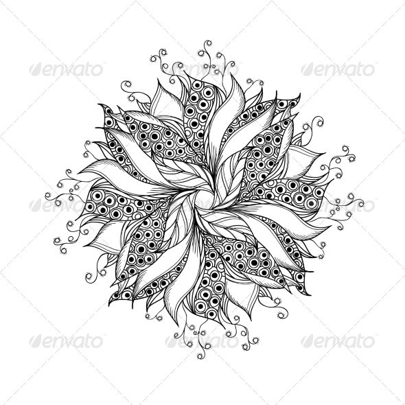 Fantasy Flower Black and White Tattoo Pattern - Patterns Decorative