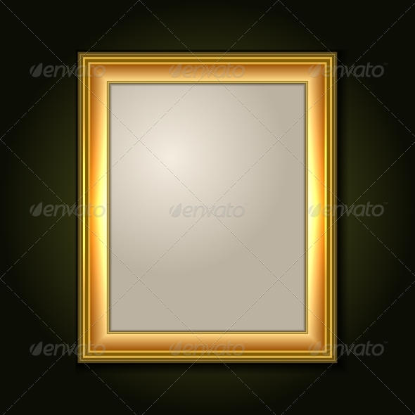 Gold Picture Frame with Light Canvas - Backgrounds Decorative
