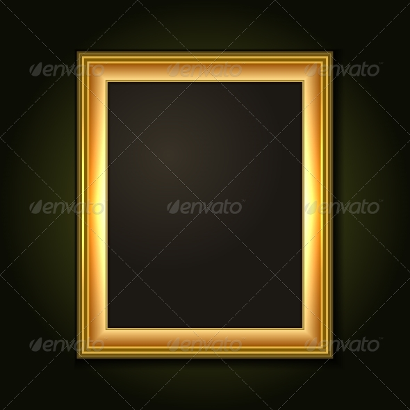 Gold Picture Frame with Dark Canvas - Backgrounds Decorative