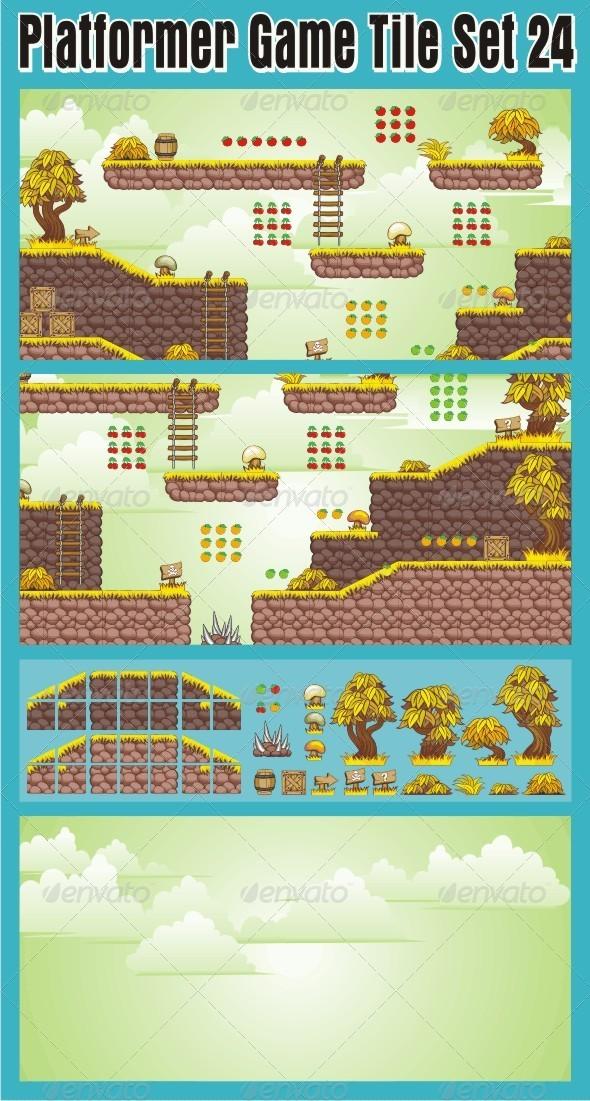 Platformer Game Tile Set 24 - Tilesets Game Assets