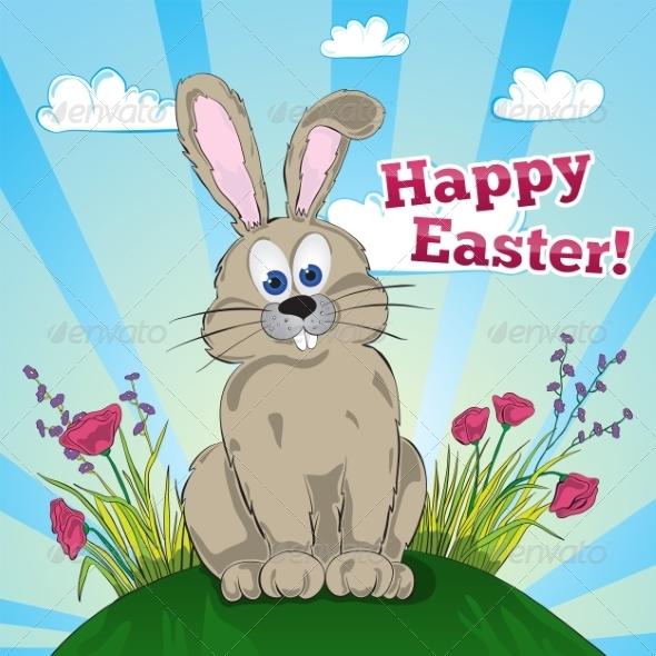 Greeting Easter Card with Bunny - Birthdays Seasons/Holidays
