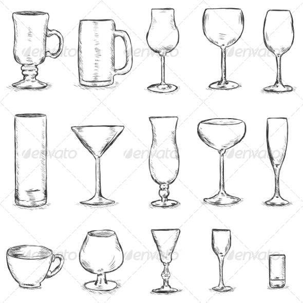 Vector Set of Sketch Stemware - Food Objects
