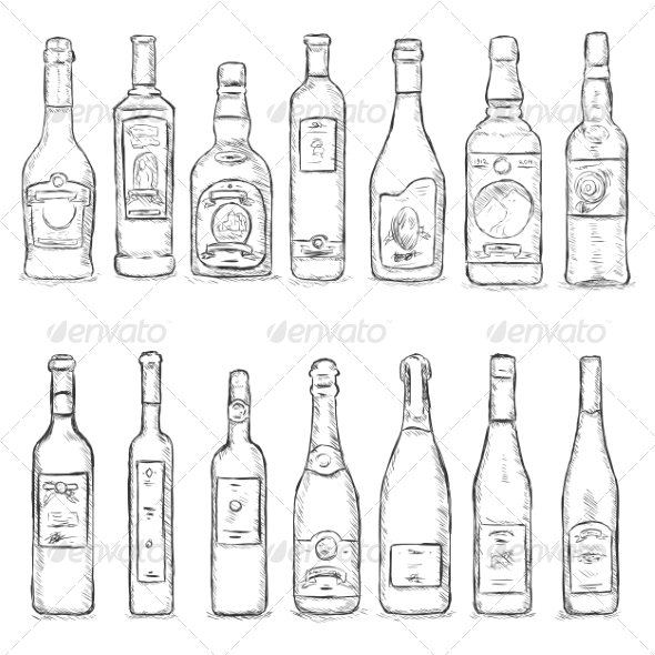 Vector Set of Sketch Bottles - Food Objects
