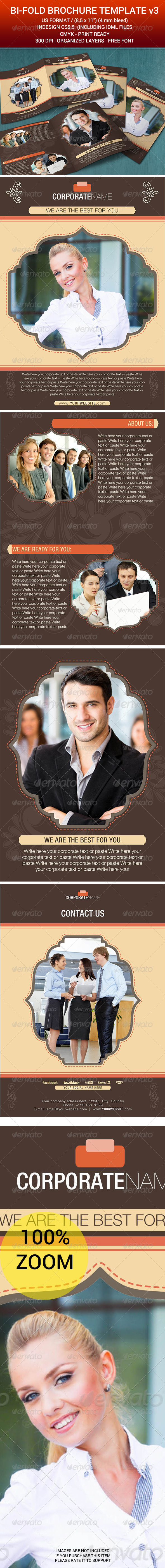Bi-Fold Brochure Indesign Template v2 - Corporate Business Cards