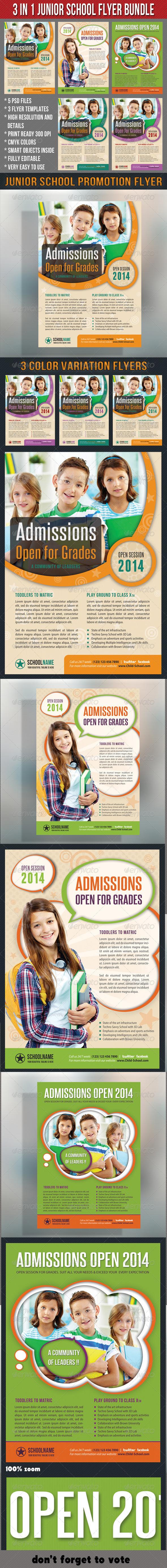 3 in 1 Junior School Promotion Flyer Bundle 01 - Events Flyers