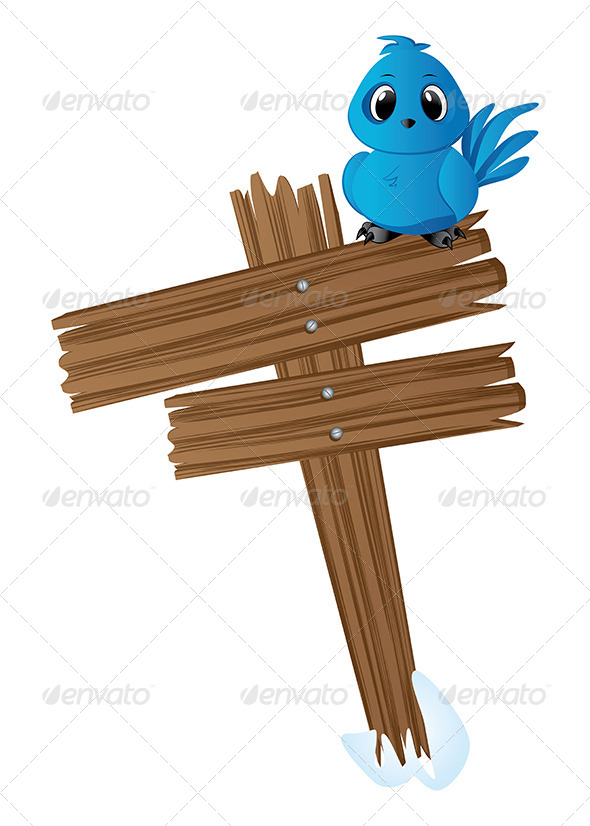 Blue Bird on Wood Sign  - Animals Characters
