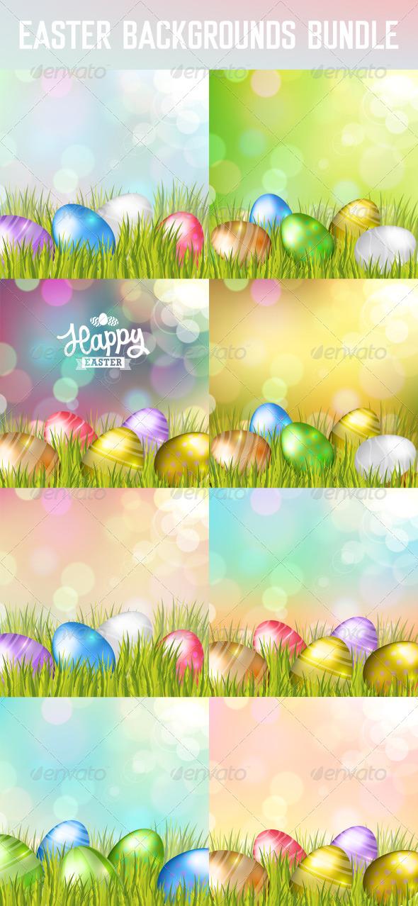 Easter Eggs Backgrounds Bundle - Seasons/Holidays Conceptual