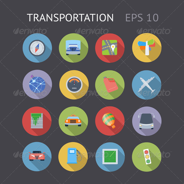 Flat Icons For Transportation - Business Icons
