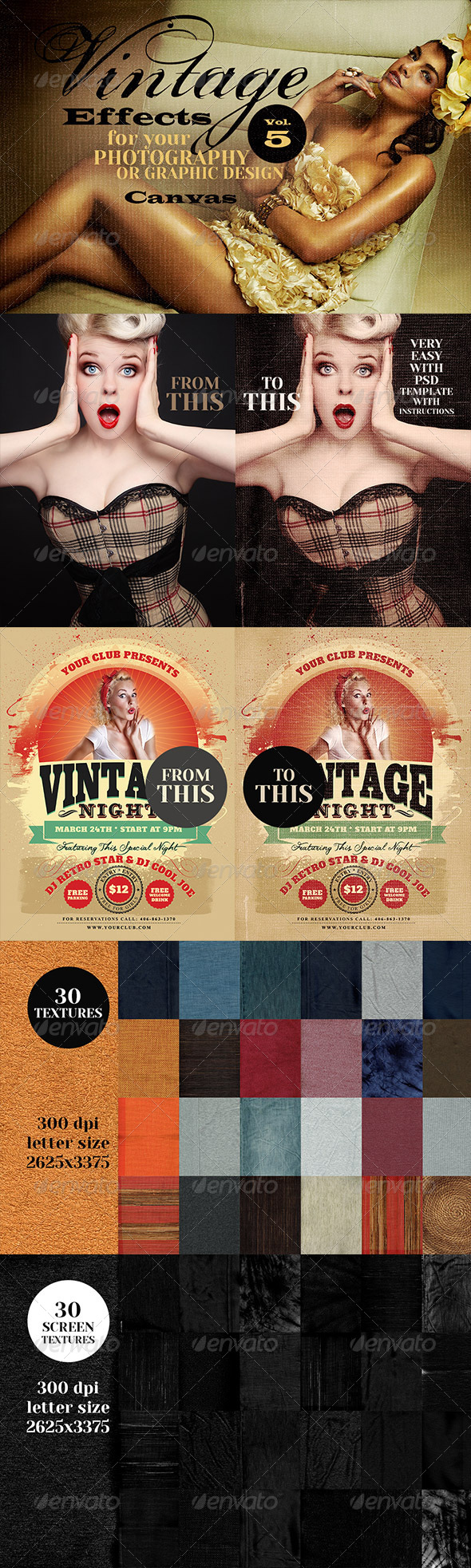 Vintage Effects for Photo, Designs 5 - Miscellaneous Photo Templates