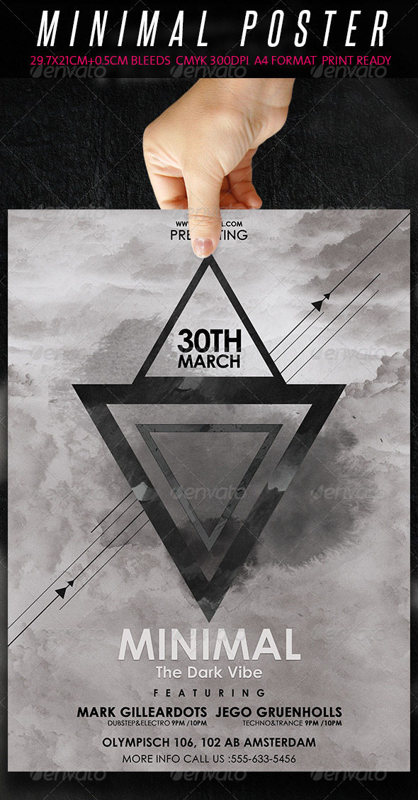 Minimal Flyer/Poster - The Dark Vibe - Clubs & Parties Events