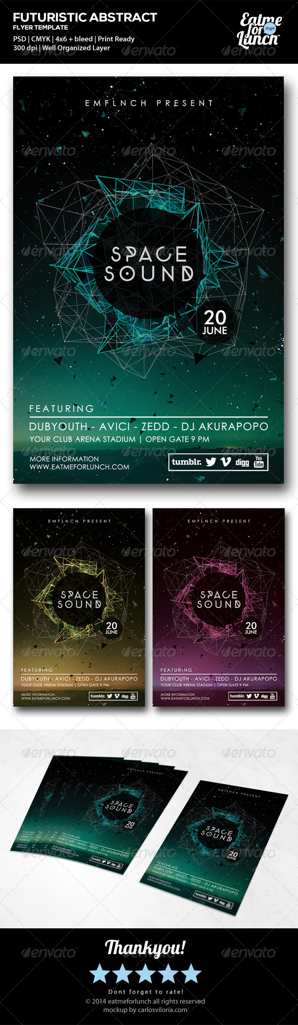 Futuristic Electronic/Club Flyer Templates - Clubs & Parties Events
