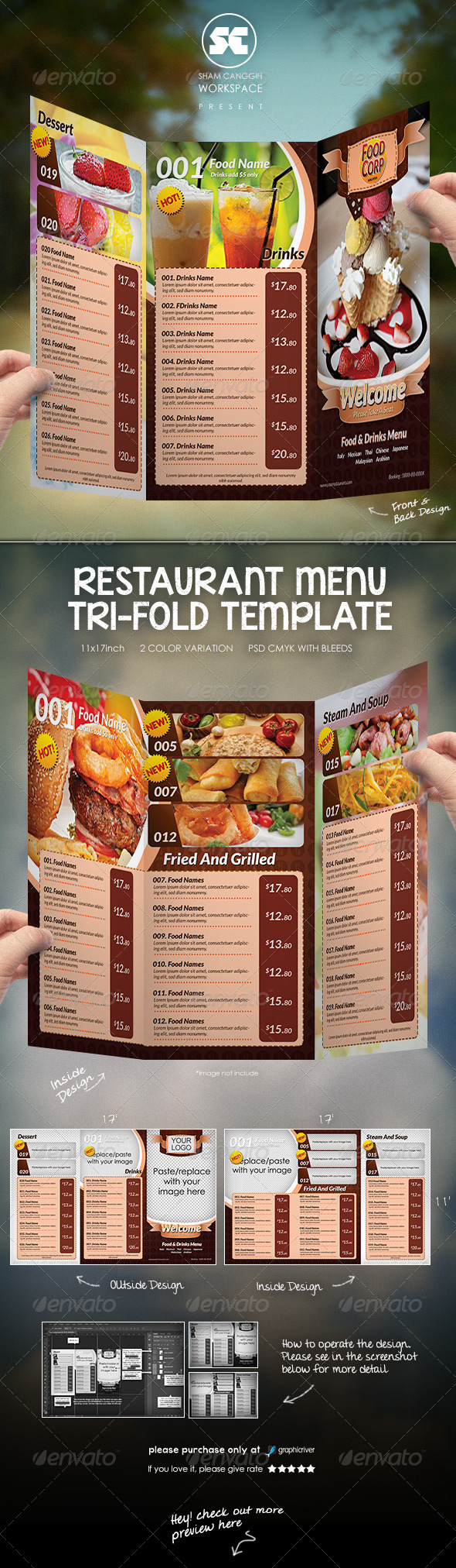 Tri-Fold Restaurant Menu Template - Food Menus Print Templates