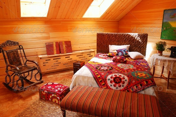 Wooden bedroom - Stock Photo - Images