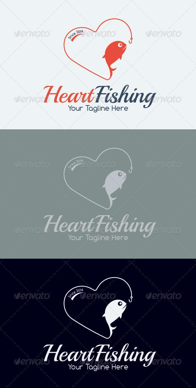 Heart Fishing Logo Template - Animals Logo Templates