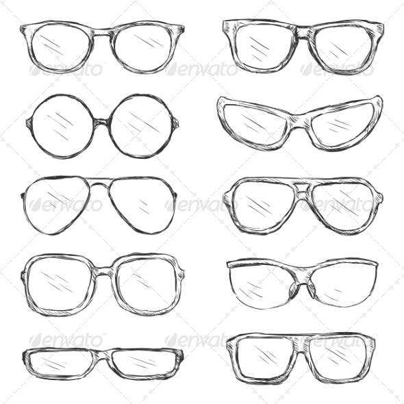 Vector Set of Sketch Eyeglass Frames - Man-made Objects Objects