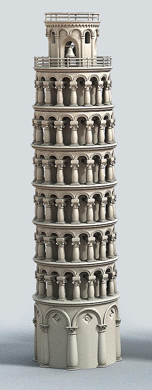 Cartoon Tower of Pisa - 3DOcean Item for Sale
