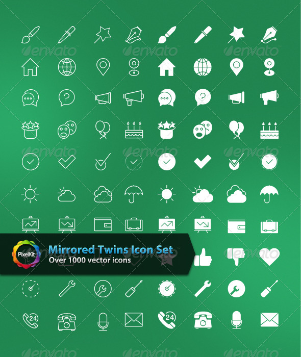 Mirrored Twins Icon Set - Web Icons